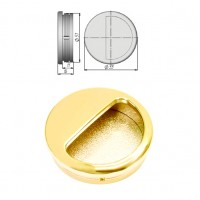 Ручка купе круглая, ракушка, d=51мм, золото