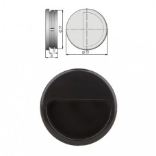 Ручка купе круглая, ракушка, d=51мм, №22, черная