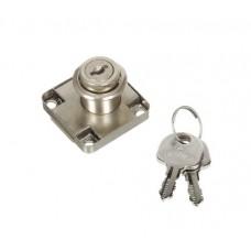 Замок мебельный №138 квадратный М6100 D19/22 хром с металлическим ключом