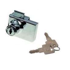 Замок для 2-х стеклянных дверей 417-5 М6410 с металлическим ключом, хром